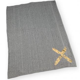 Plaid Terry wit/grijs/goud (130x170cm) - VT Wonen